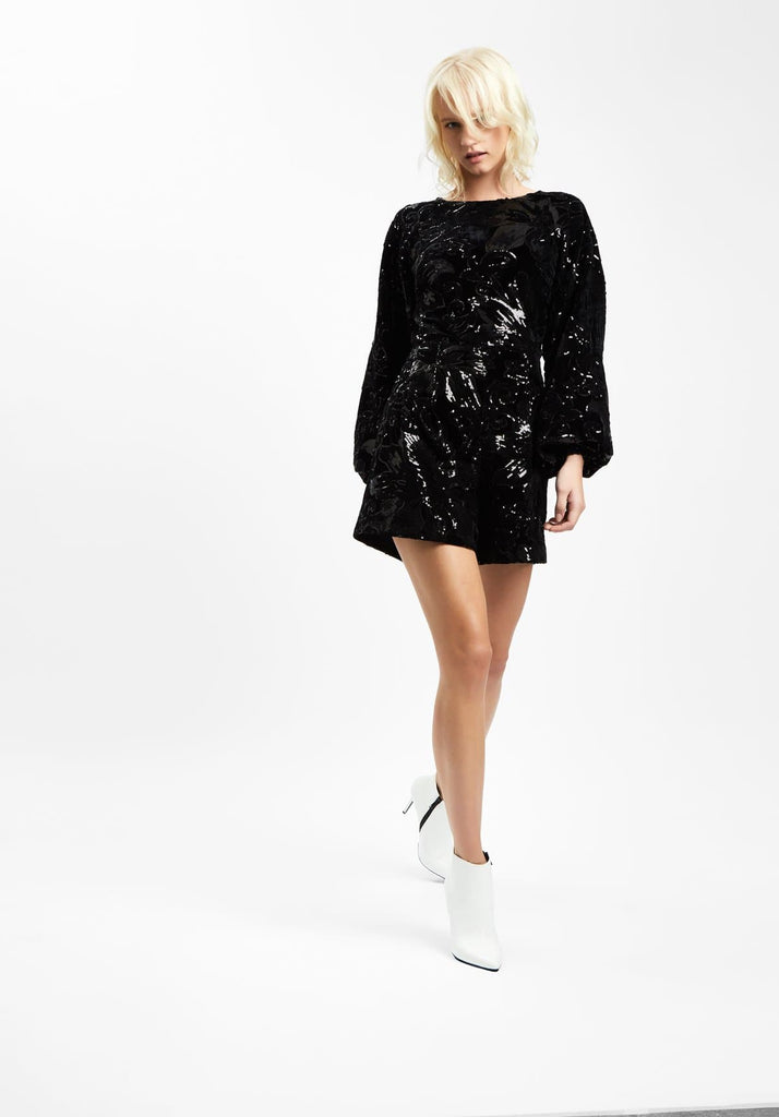 Traffic People Velvet and Sequin Bambi Playsuit in Black Side View Image