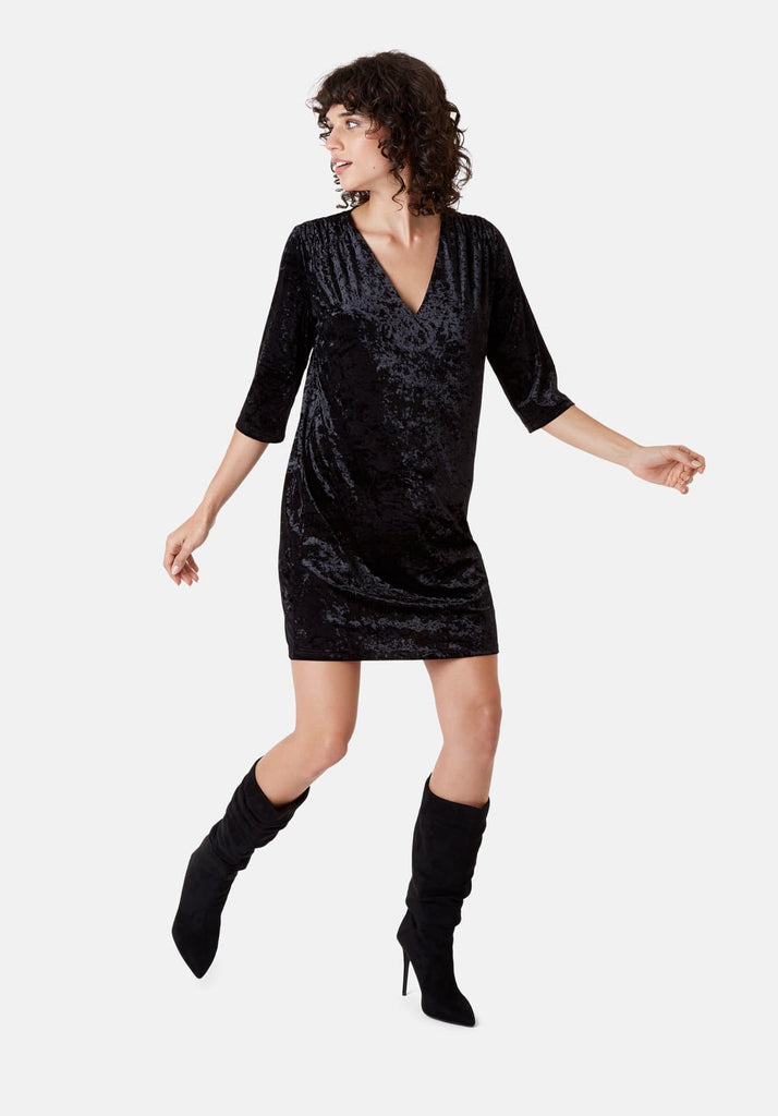Traffic People Velvet V-Neck Mollie Dress in Black Front View Image