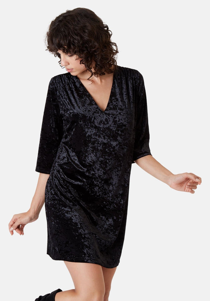 Traffic People Velvet V-Neck Mollie Dress in Black Side View Image