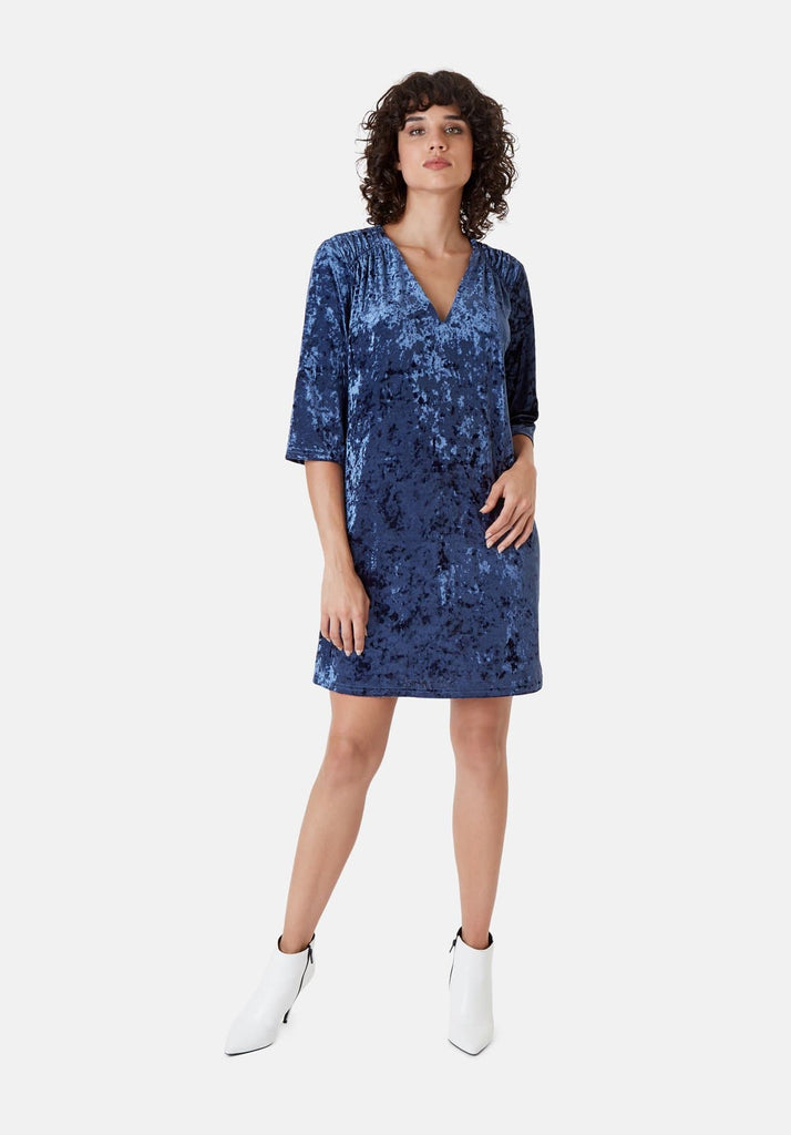 Traffic People Velvet V-Neck Mollie Dress in Blue Front View Image