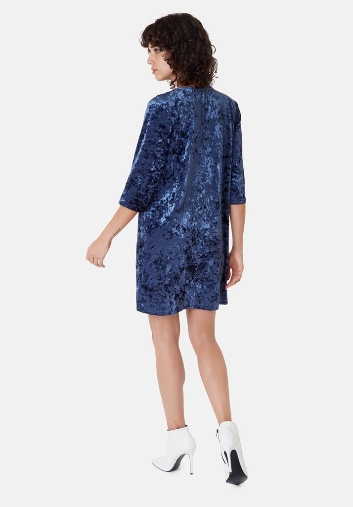 Traffic People Velvet V-Neck Mollie Dress in Blue Back View Image
