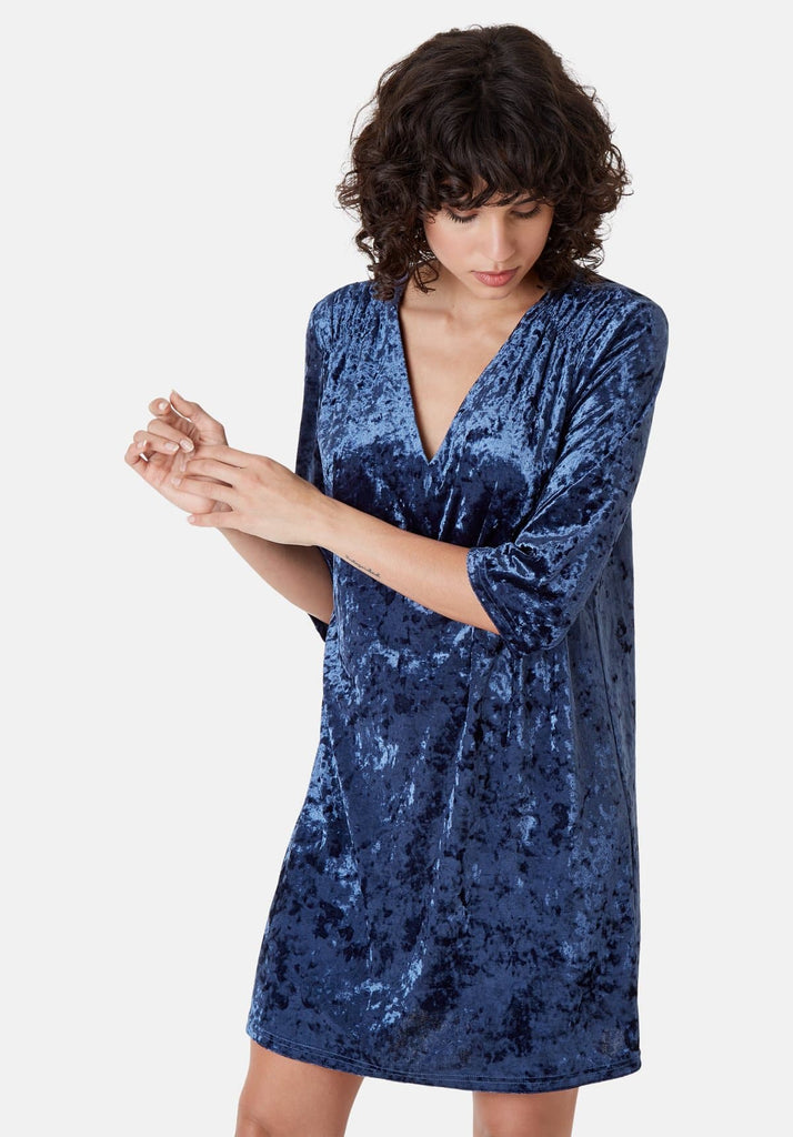 Traffic People Velvet V-Neck Mollie Dress in Blue Side View Image