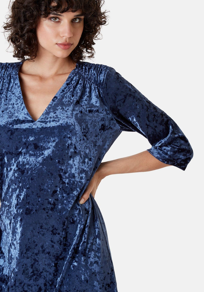 Traffic People Velvet V-Neck Mollie Dress in Blue Close Up Image
