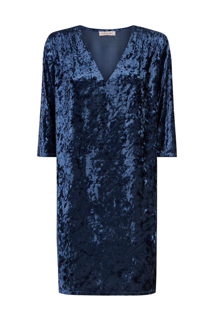 Traffic People Velvet V-Neck Mollie Dress in Blue FlatShot Image