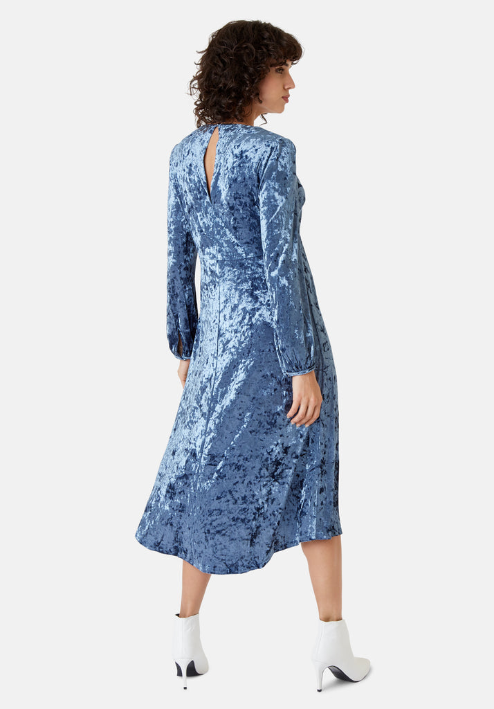 Traffic People Long Sleeve Velvet Midi Dress in Blue Back View Image