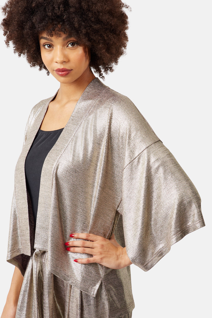 Traffic People Viva Las Vegas Wallfall Shrug Jacket in Gold Side View Image