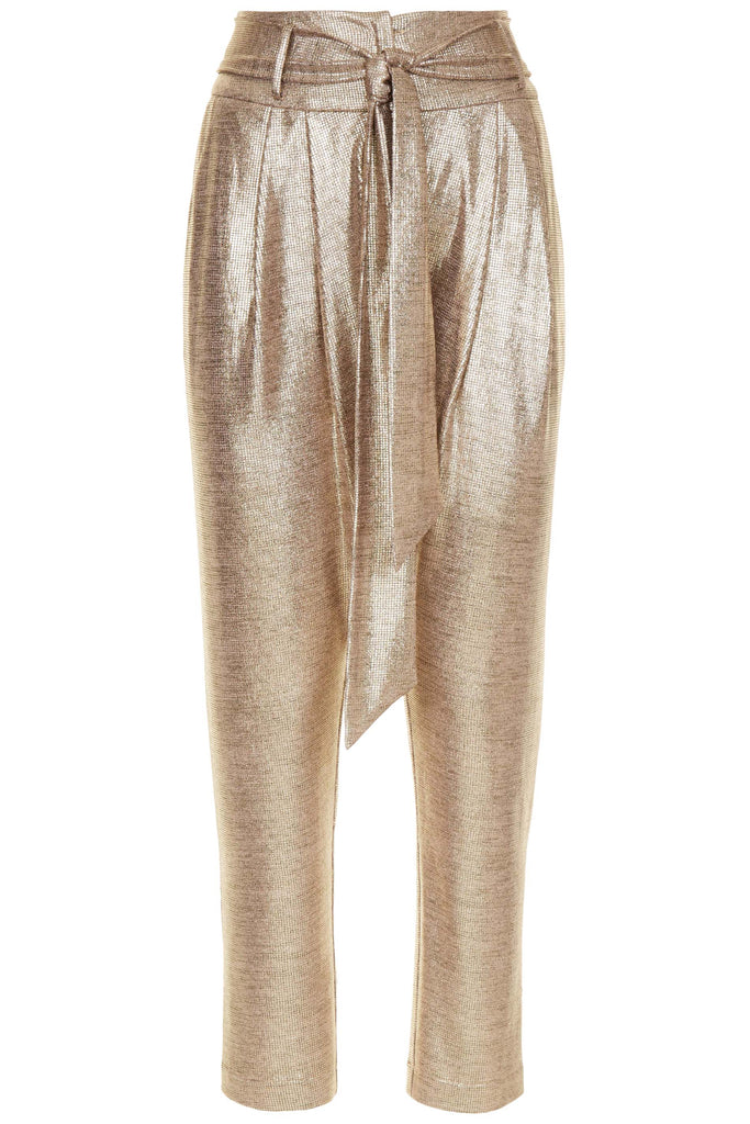 Traffic People Colby Peg Leg Metallic Trousers in Gold FlatShot Image