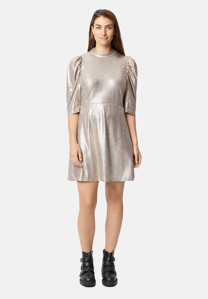 Traffic People Maybe Metallic Mini Dress in Gold Back View Image