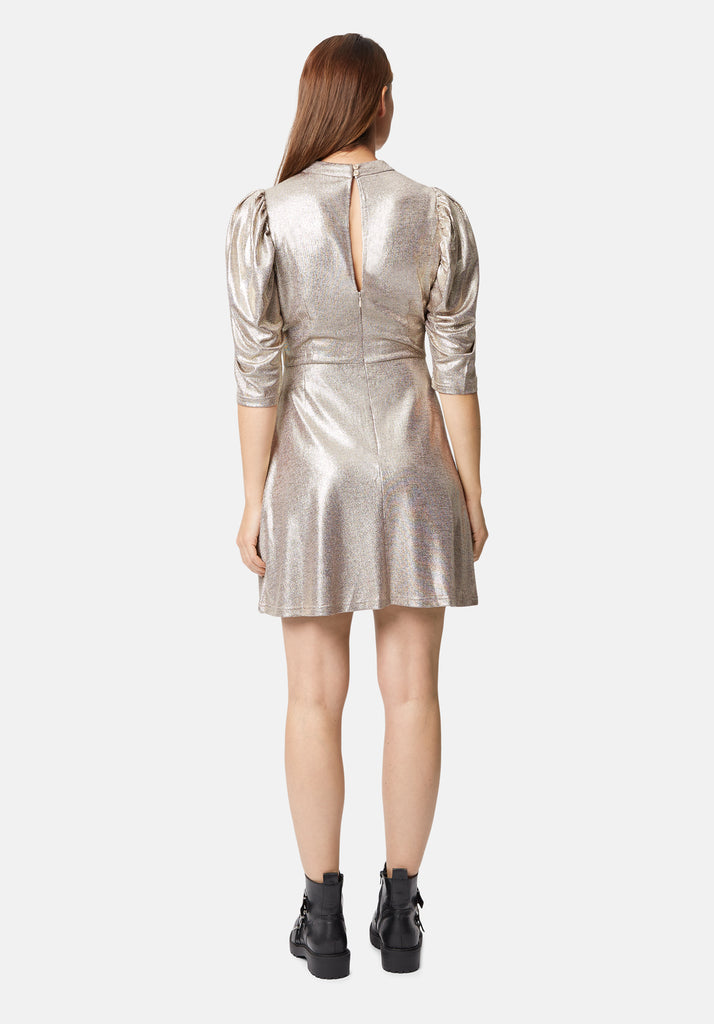 Traffic People Maybe Metallic Mini Dress in Gold Side View Image