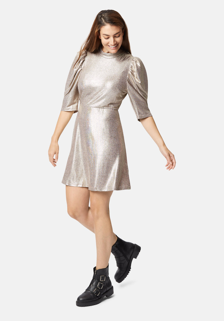 Traffic People Maybe Metallic Mini Dress in Gold Front View Image