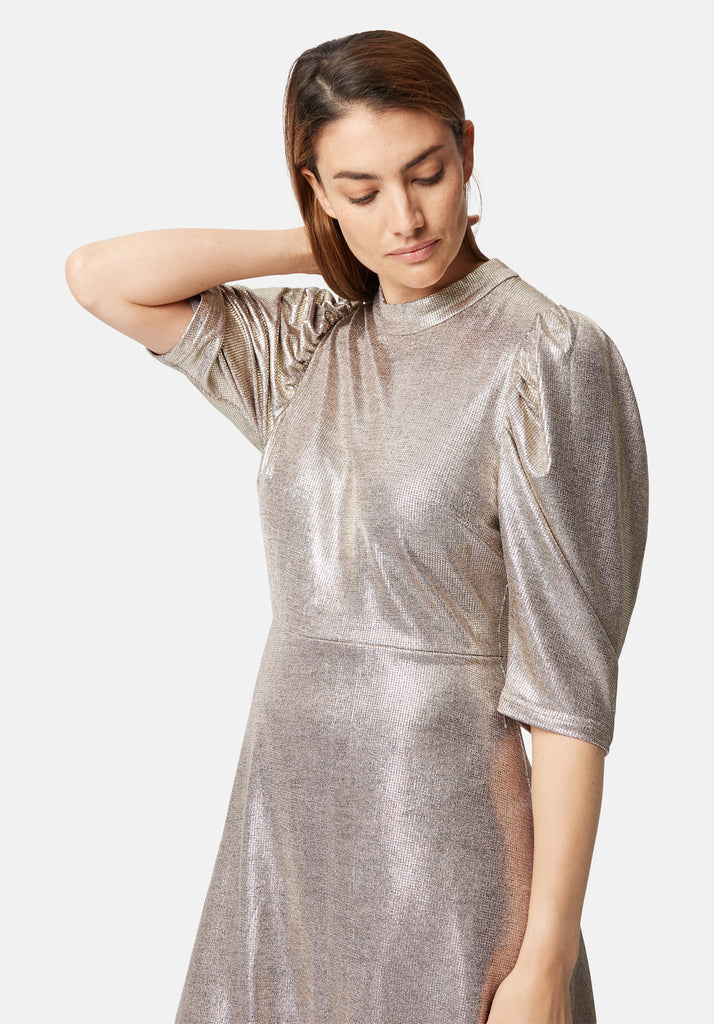 Traffic People Maybe Metallic Mini Dress in Gold Close Up Image