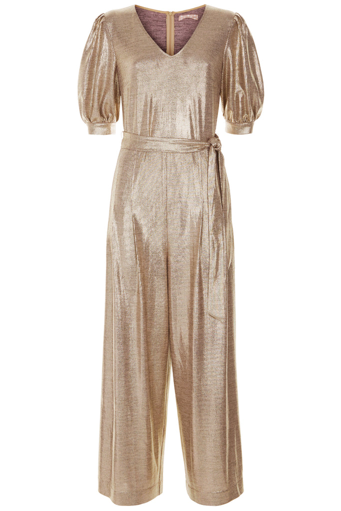 Traffic People Hetty V-Neck Wide Leg Jumpsuit in Gold FlatShot Image
