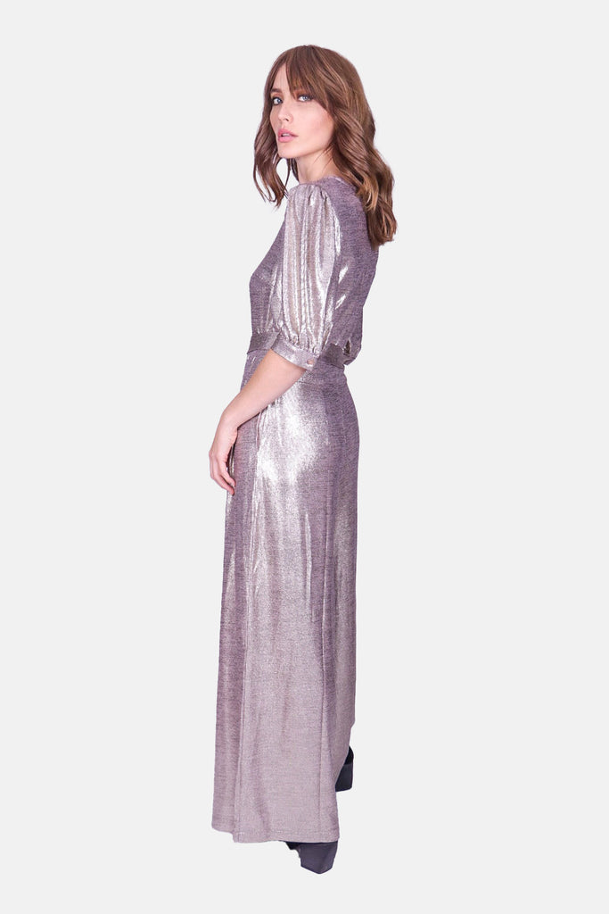 Traffic People Hetty V-Neck Wide Leg Jumpsuit in Gold Close Up Image