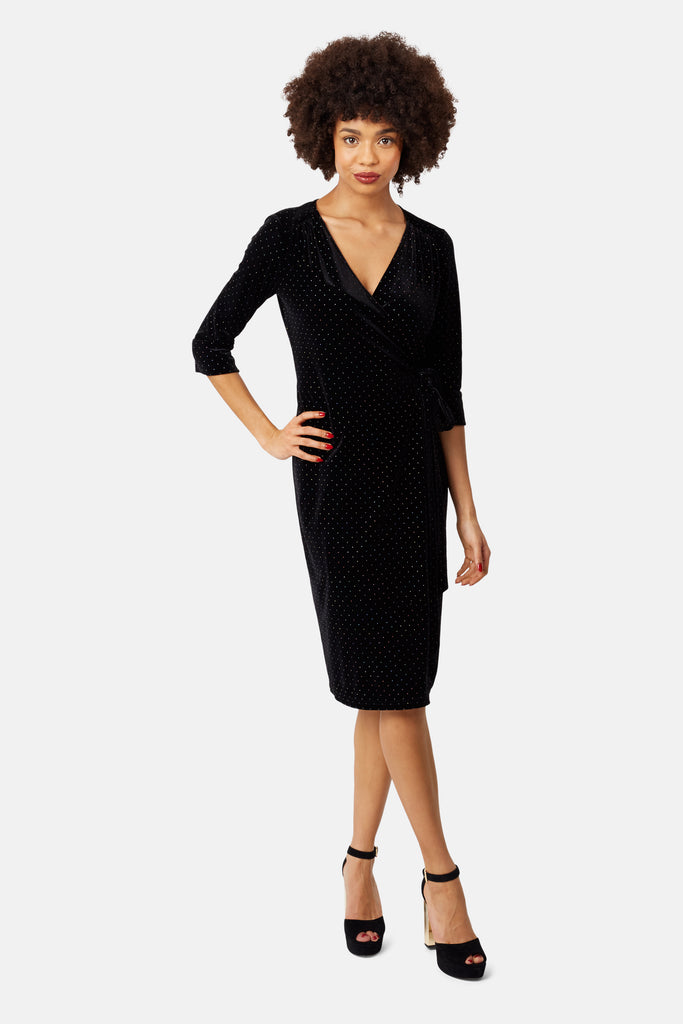 Traffic People White Light Wrap Midi Dress in Black Velvet Front View Image