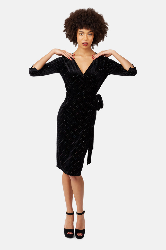 Traffic People White Light Wrap Midi Dress in Black Velvet Back View Image