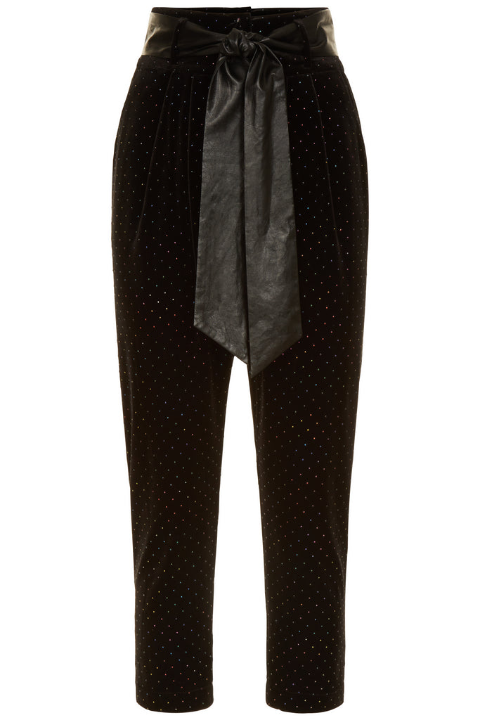 Traffic People Rainbow Dot Colby Peg Leg Trousers in Black Velvet FlatShot Image