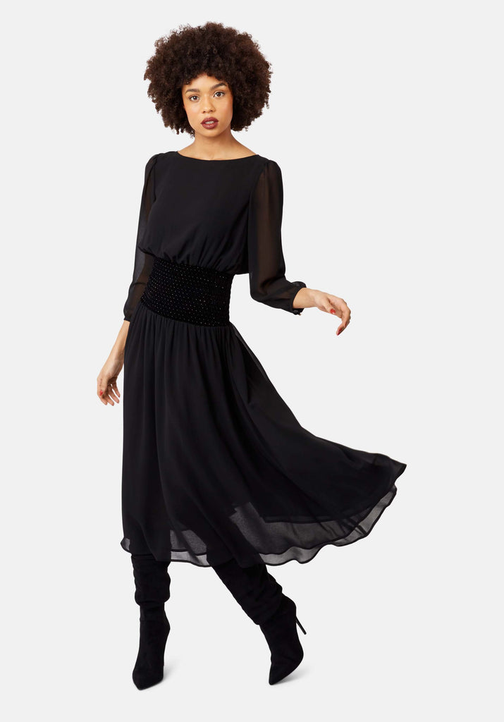 Sheer White Light Long Sleeve Midi Dress in Black