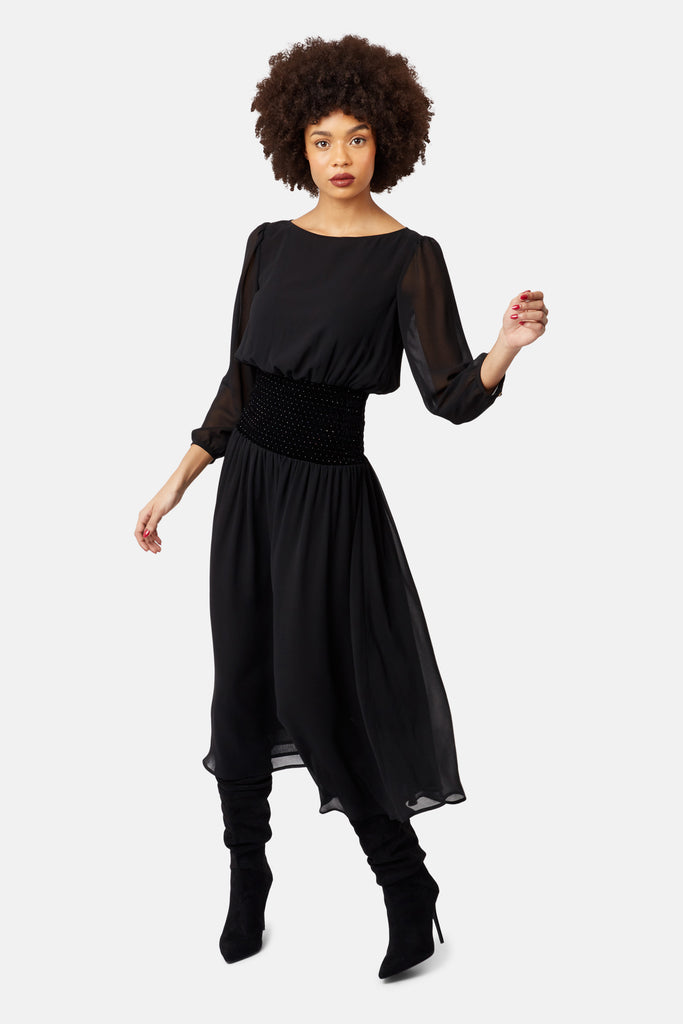 Traffic People Sheer White Light Long Sleeve Midi Dress in Black Side View Image