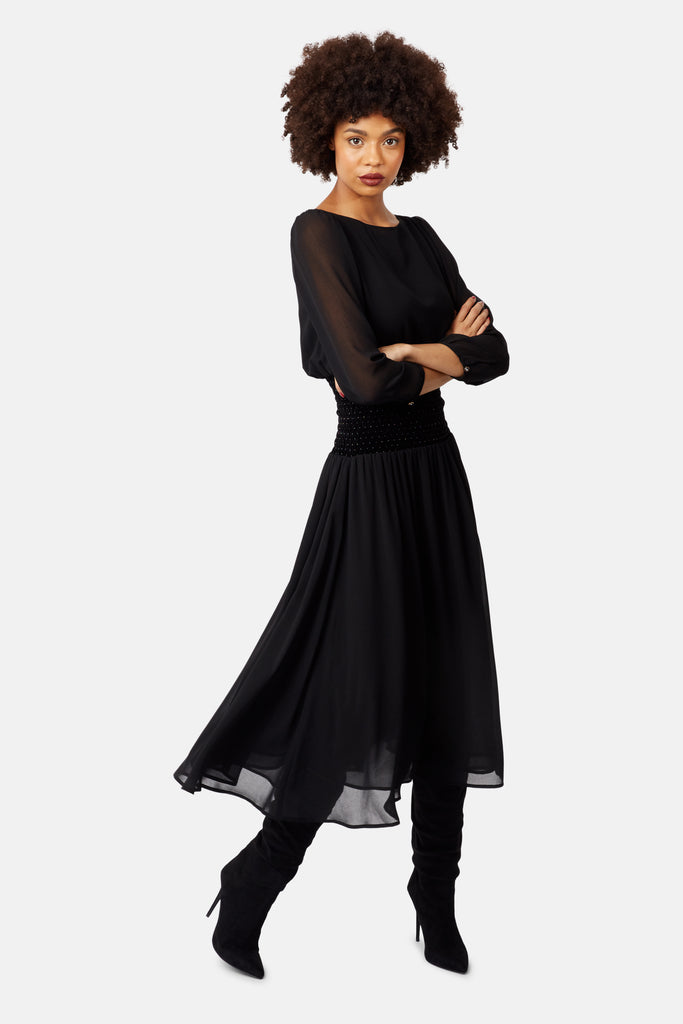 Traffic People Sheer White Light Long Sleeve Midi Dress in Black Back View Image