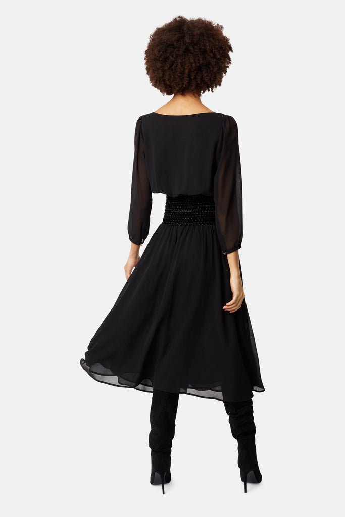 Traffic People Sheer White Light Long Sleeve Midi Dress in Black Close Up Image
