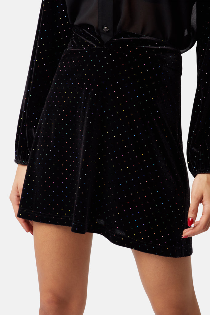 Traffic People White Light Rainbow Stud Mini Skirt in Black Close Up Image