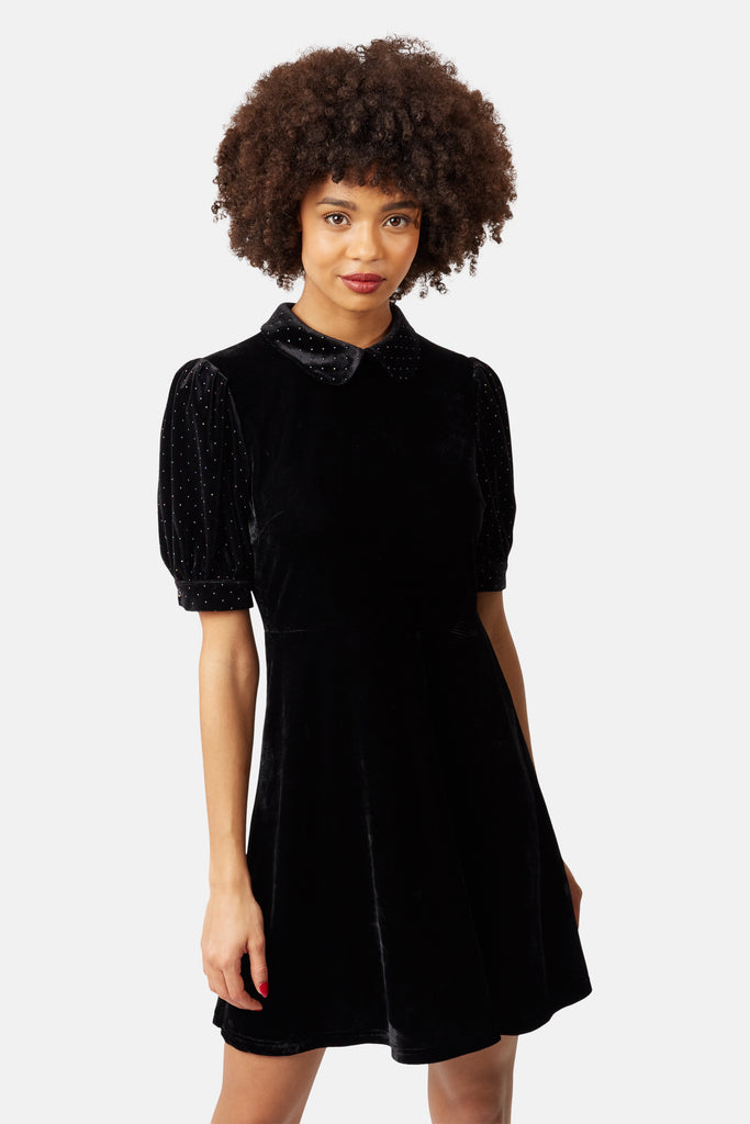 Traffic People Peter Pan Collar Velvet Grace Dress in Black Front View Image