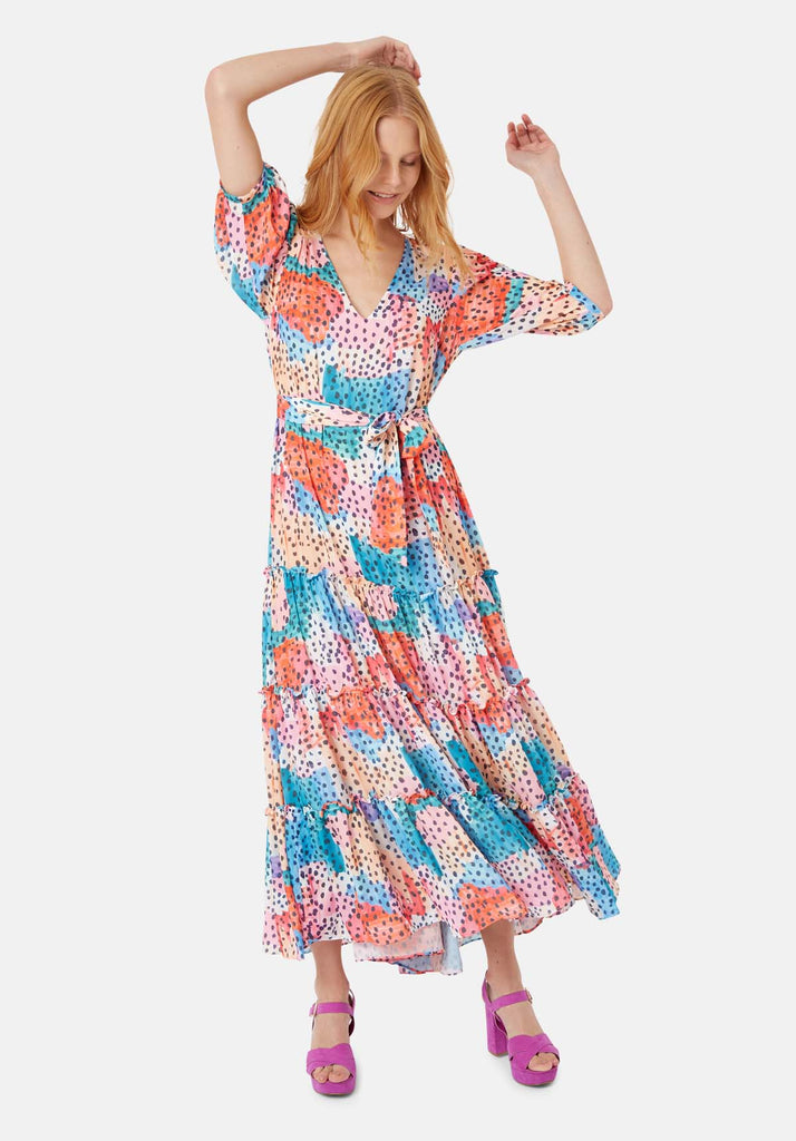 Felicitations V-Neck Printed Maxi Dress in Multicoloured