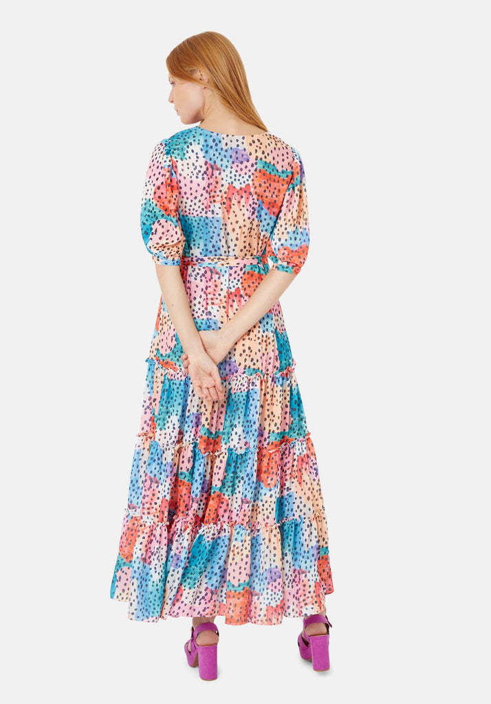 Traffic People Felicitations V-Neck Printed Maxi Dress in Multicoloured Side View Image