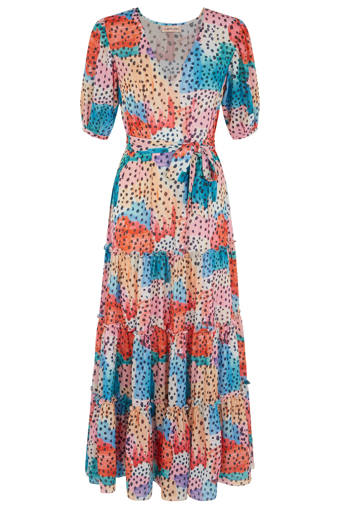 Traffic People Felicitations V-Neck Printed Maxi Dress in Multicoloured FlatShot Image
