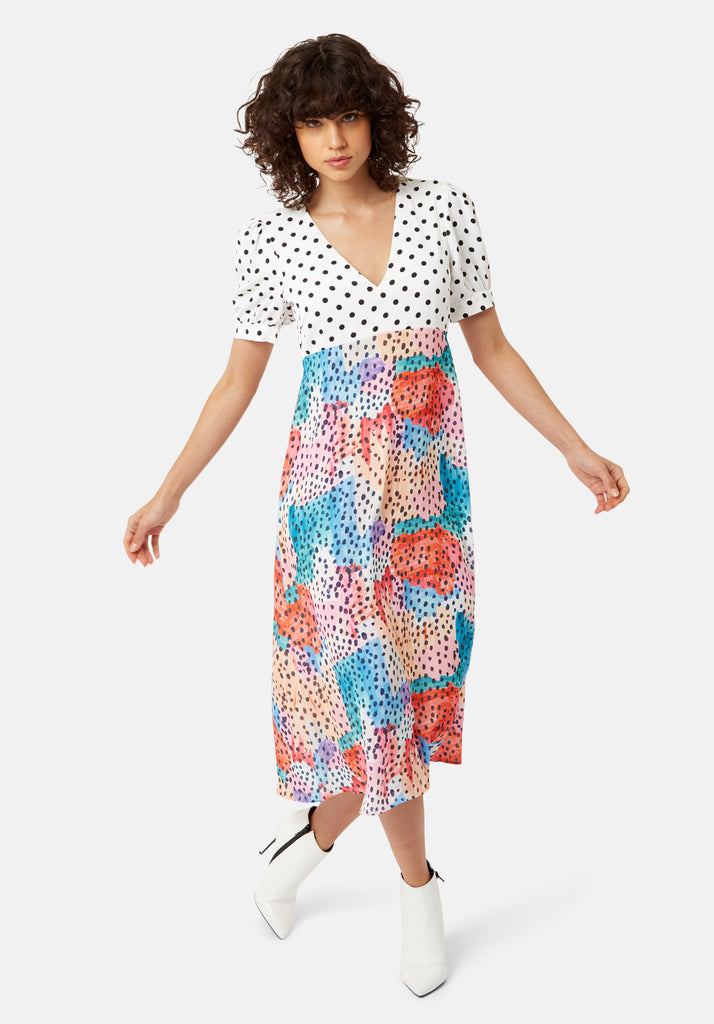 Traffic People Mia Polka Dot Midi Dress in Multicoloured Front View Image