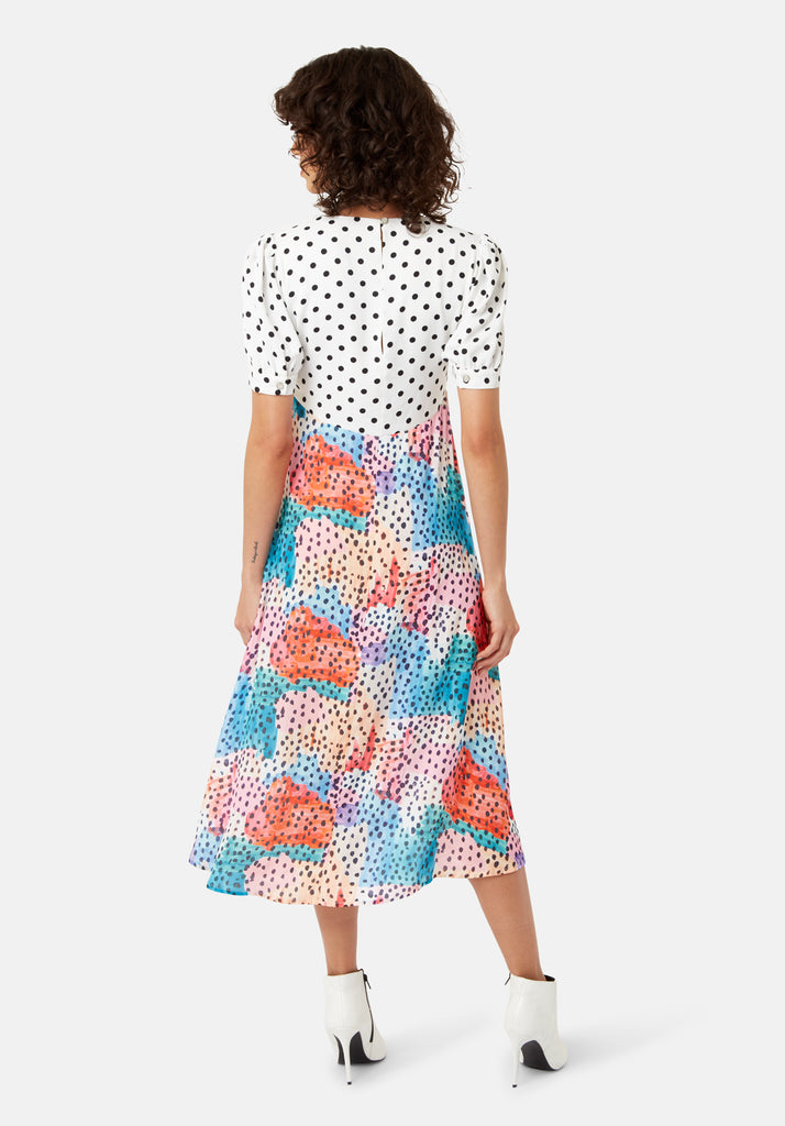 Traffic People Mia Polka Dot Midi Dress in Multicoloured Side View Image