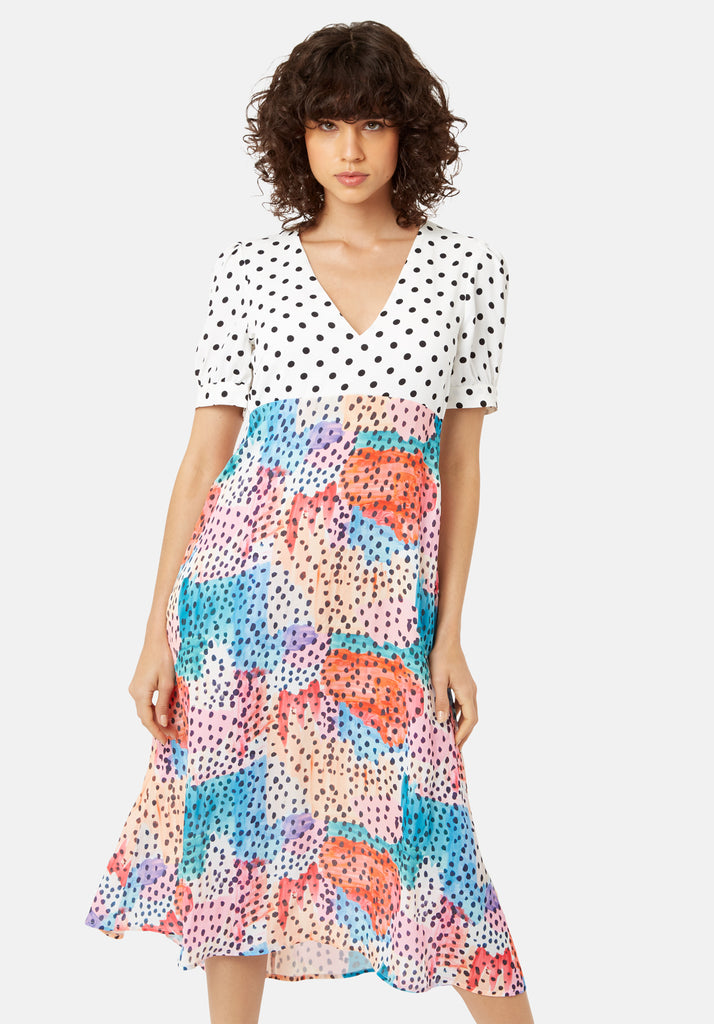 Traffic People Mia Polka Dot Midi Dress in Multicoloured Back View Image