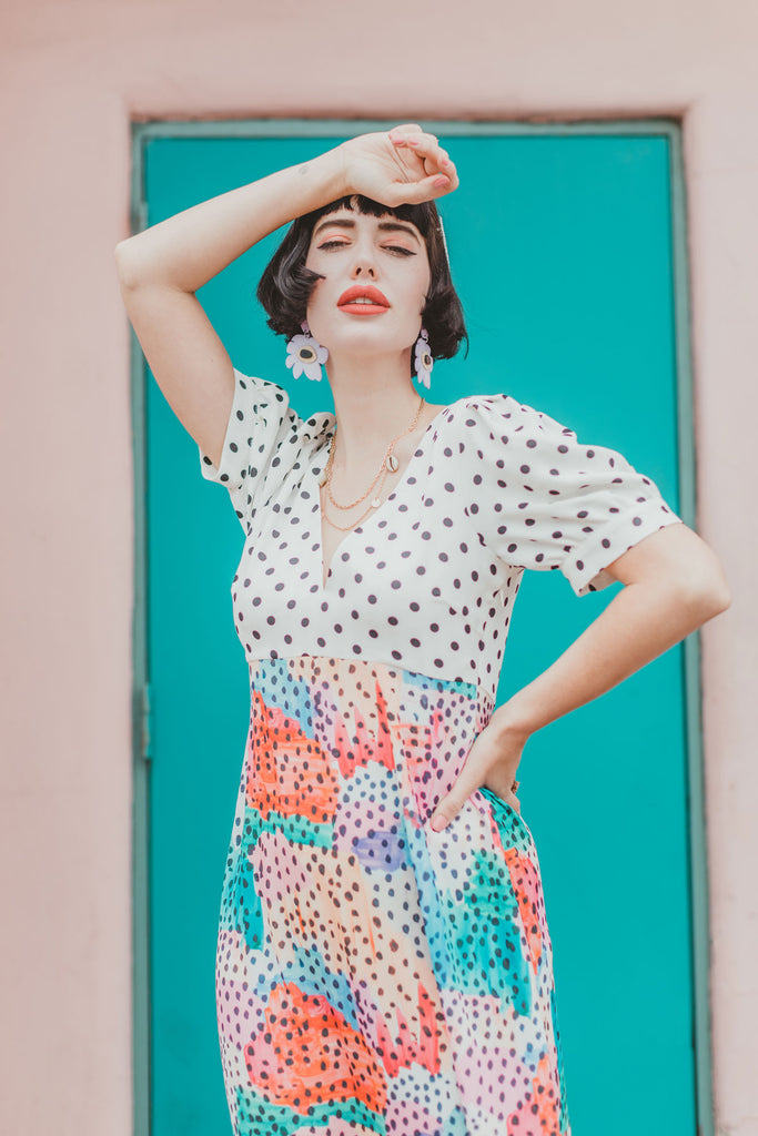 Mia Polka Dot Midi Dress in Multicoloured