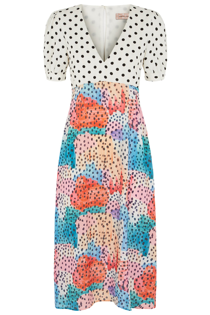 Traffic People Mia Polka Dot Midi Dress in Multicoloured FlatShot Image