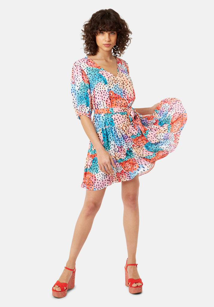 Felicitous Watercolour Print Mini Dress in Multicoloured