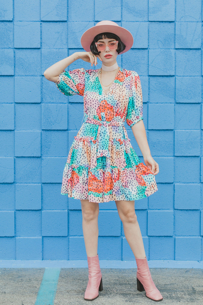 Traffic People Felicitous Watercolour Print Mini Dress in Multicoloured Front View Image
