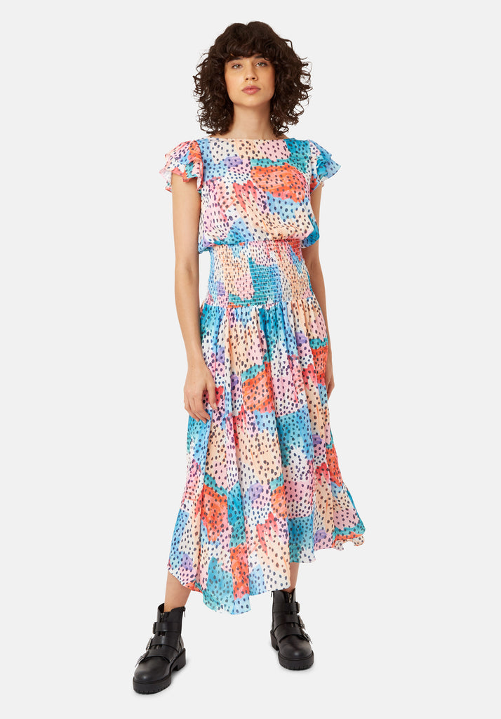 Whispers Watercolour Midi Dress in Multicoloured