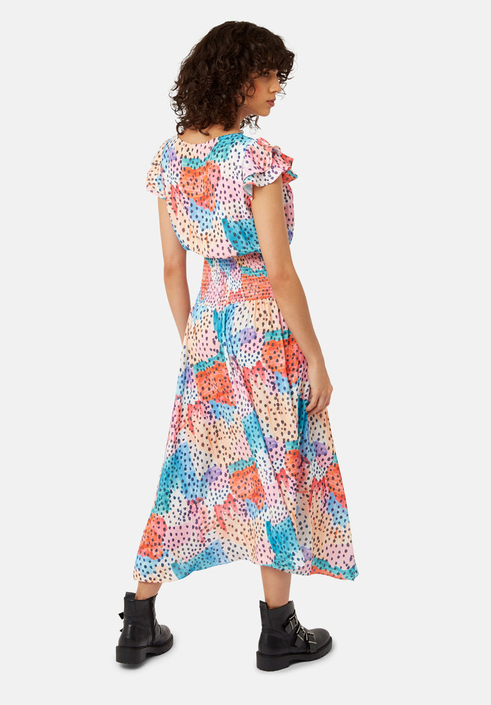 Traffic People Whispers Watercolour Midi Dress in Multicoloured Side View Image