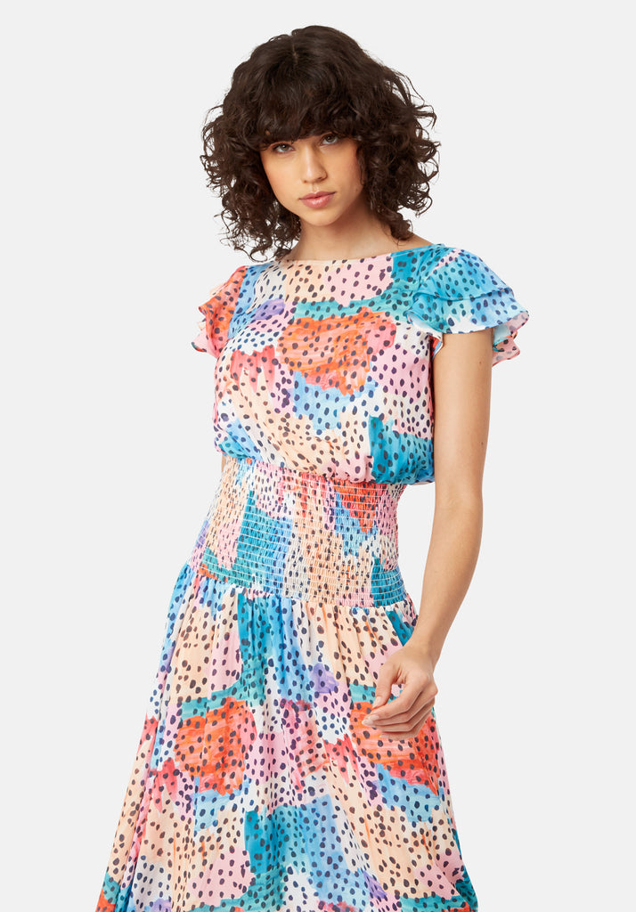 Traffic People Whispers Watercolour Midi Dress in Multicoloured Back View Image