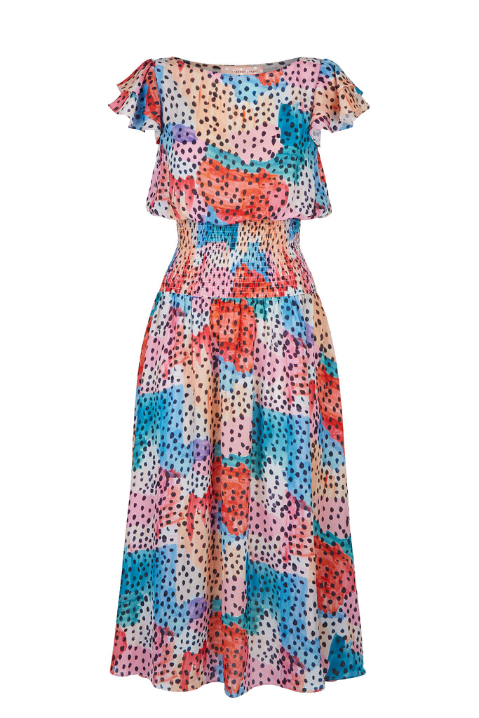 Traffic People Whispers Watercolour Midi Dress in Multicoloured FlatShot Image