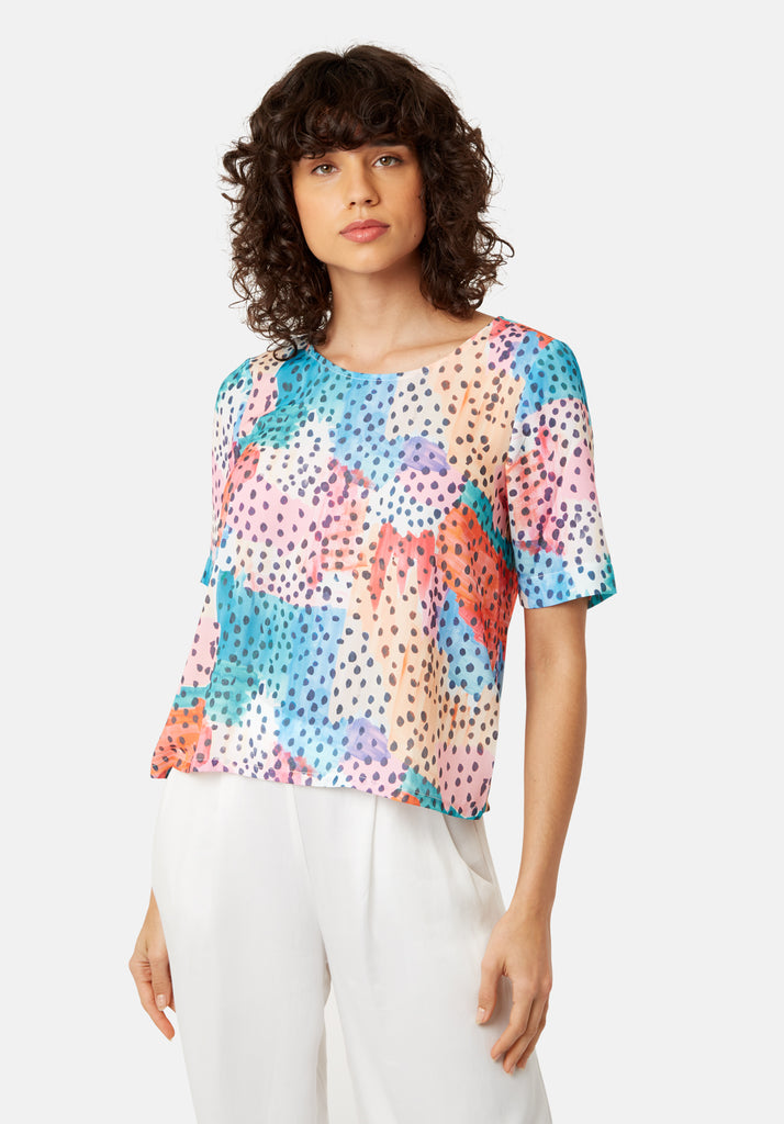 Traffic People Tresspass Watercolour Short Sleeve Top in Multicolour Front View Image