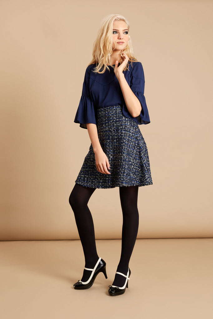 Traffic People Tweed Skater Mini Skirt in Navy Front View Image