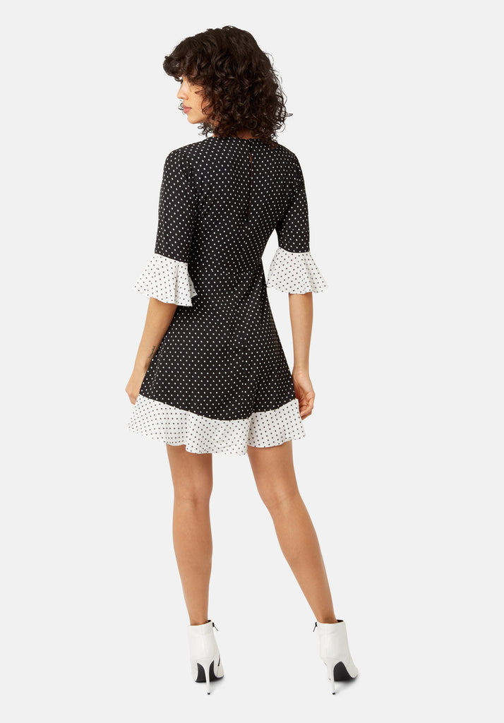 Traffic People Frill Star Print Mini Dress in Black and White Side View Image