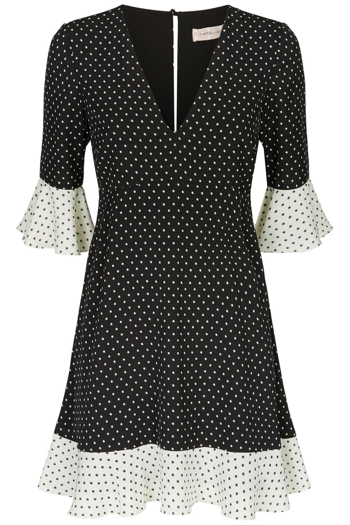 Traffic People Frill Star Print Mini Dress in Black and White FlatShot Image