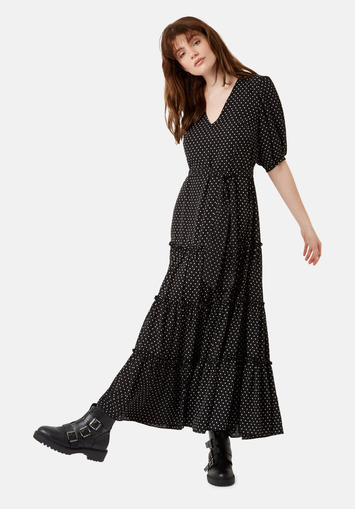 Traffic People Star Print Felicitations Maxi Dress in Black Front View Image