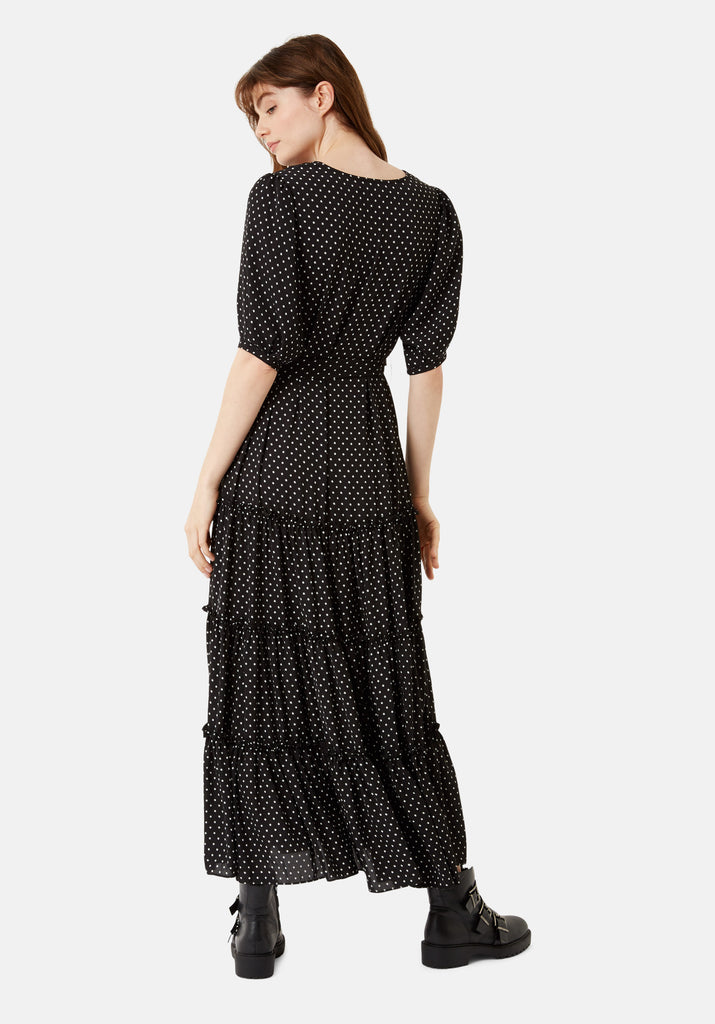 Traffic People Star Print Felicitations Maxi Dress in Black Side View Image