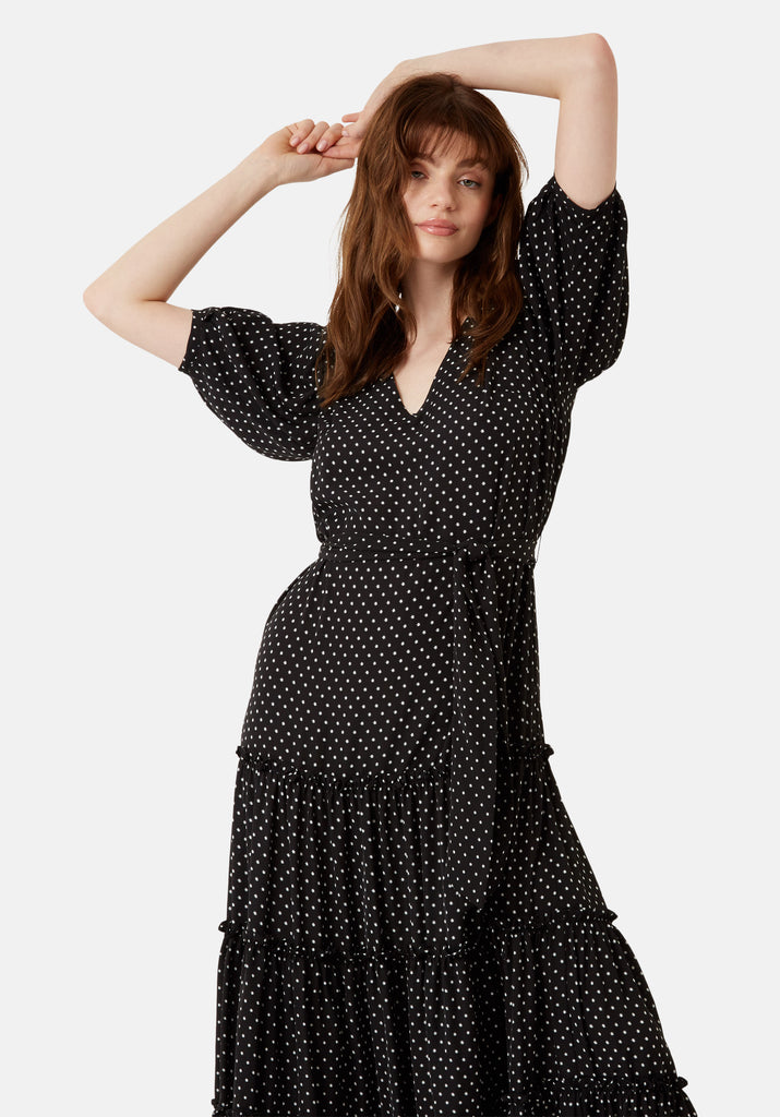 Traffic People Star Print Felicitations Maxi Dress in Black Back View Image