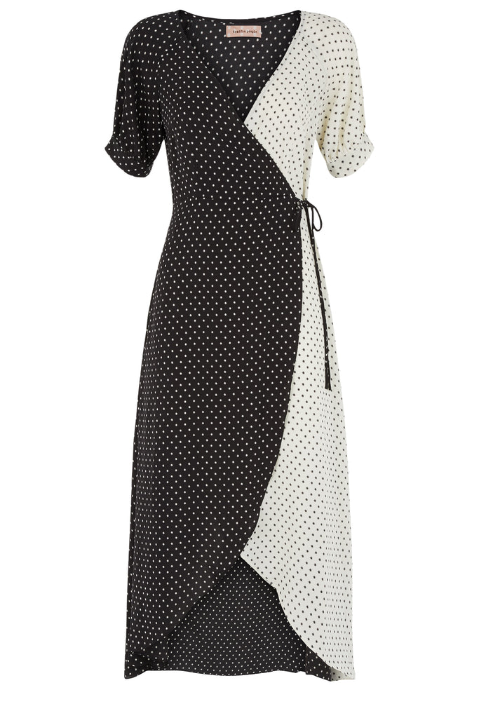 Traffic People Written In The Stars Printed Wrap Dress in Black and White FlatShot Image