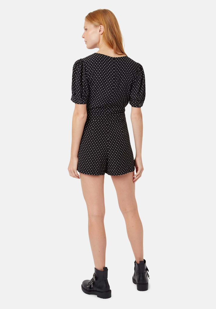 Traffic People Star Print Short Sleeve Playsuit in Black Side View Image