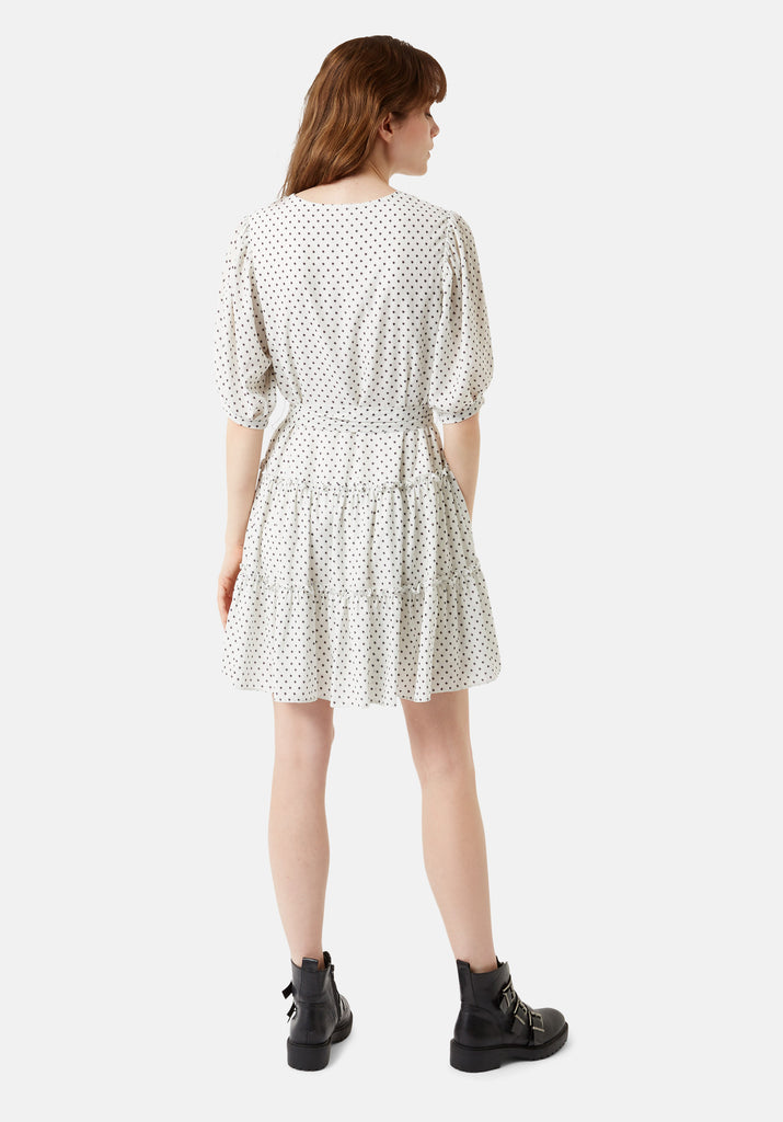 Traffic People Felicitous Star Print Tiered Mini Dress in White Side View Image